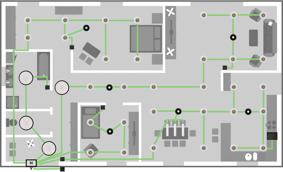 Example home layout showing Tree topology