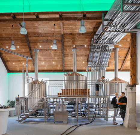 Brewery room with green LED Strip lighting