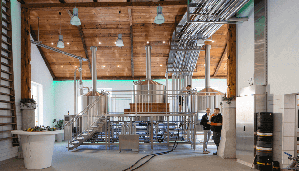 Automated brewery with green LED Strip lighting