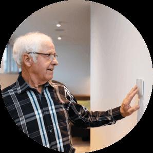 Senior citizen using Loxone Touch