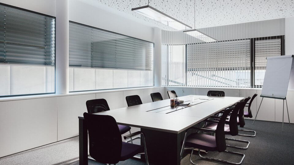 Conference room with blinds