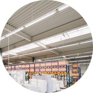 Bright warehouse lighting