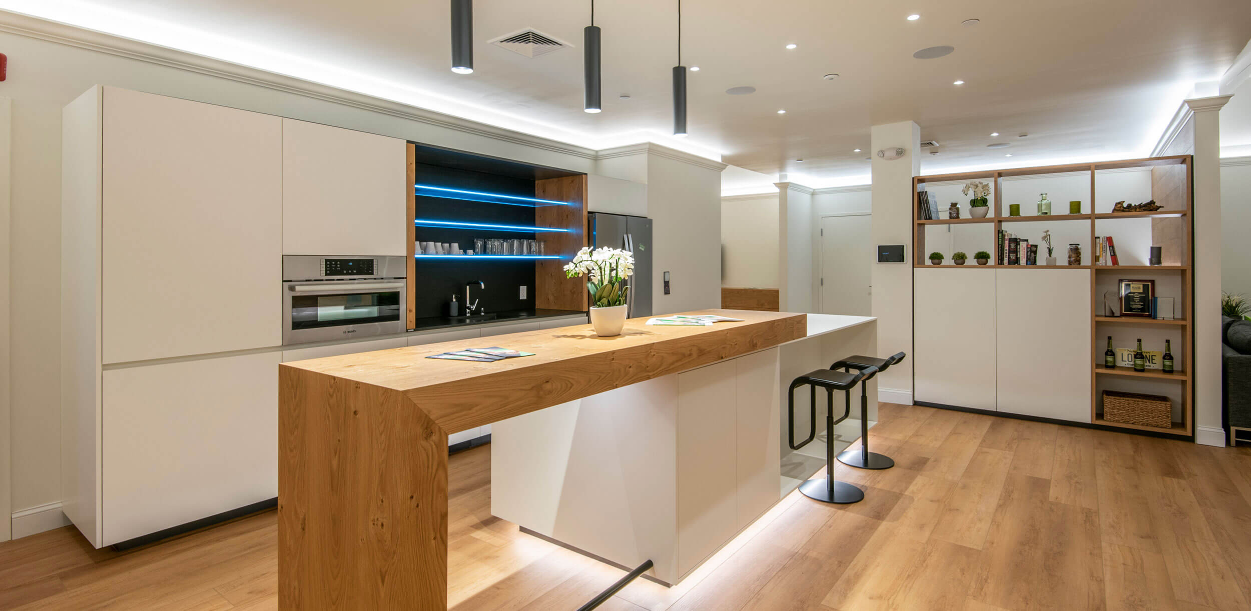 Loxone Experience Center kitchen with bright LED lighting