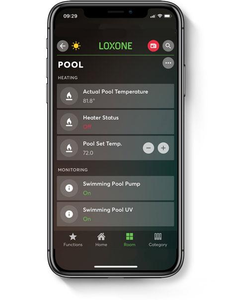 Outdoor pool controls displayed in smart home app