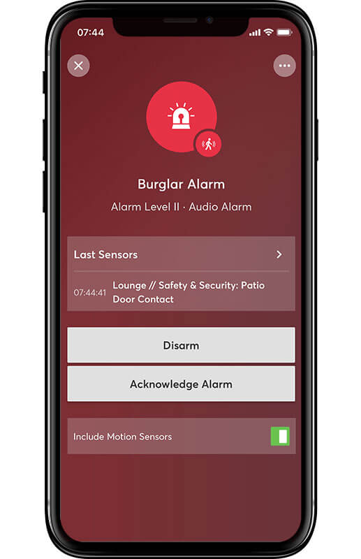 Smartphone displaying burglar alarm status in the app