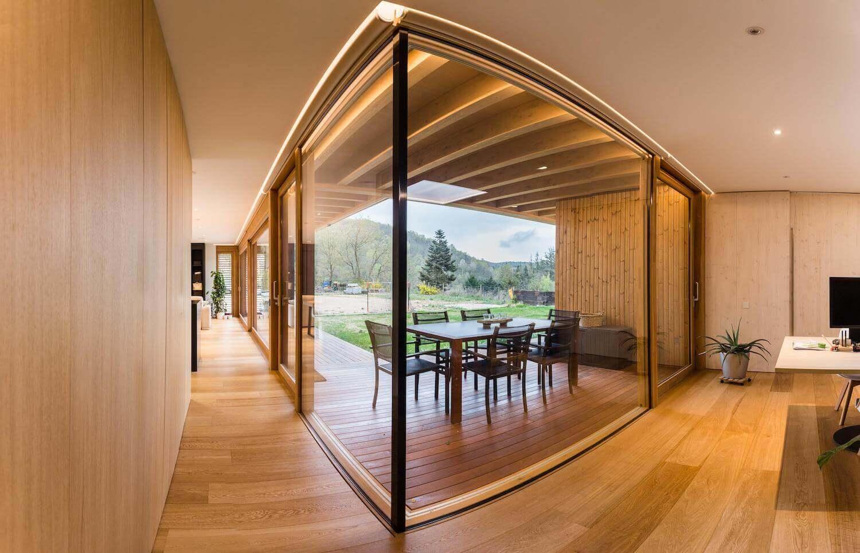 Glass walls with LED lighting