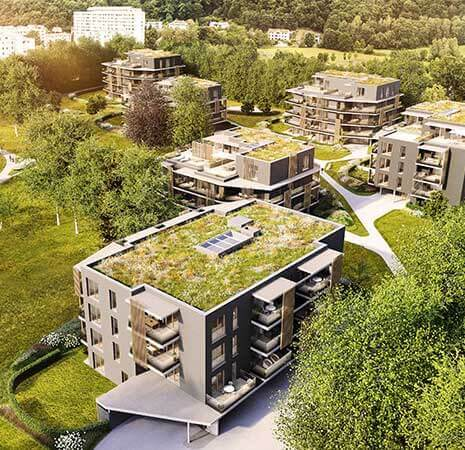 Smart apartment complex with rooftop gardens.