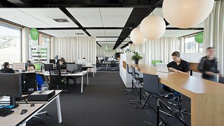 Open floor plan workspace