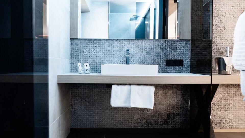 Bathroom inside hotel room.