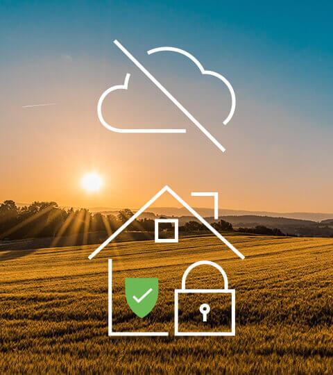 Ein wolkenloser Himmel mit Icon Smart Home ohne Cloud