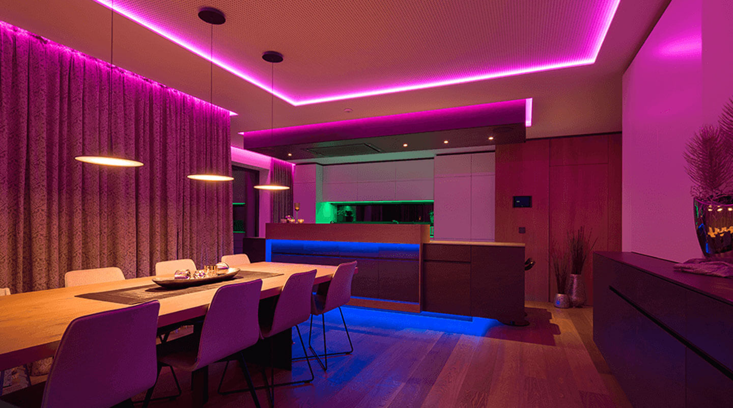 Modern kitchen with colorful LED Strip lighting.