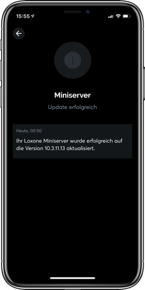 iPhone displaying Miniserver update in Loxone App