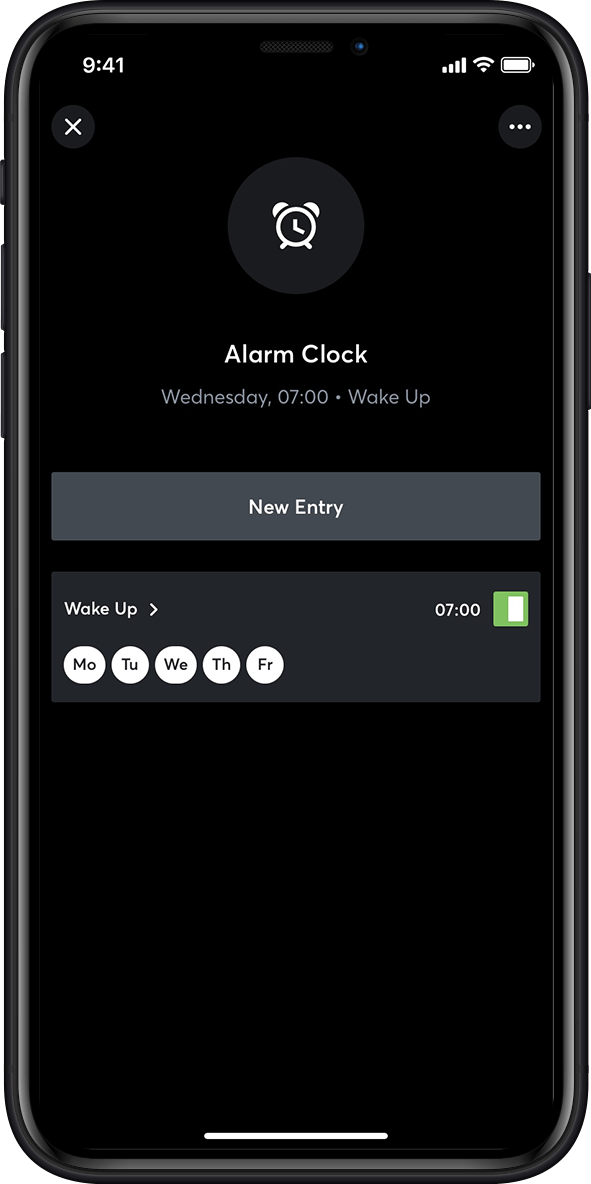 Alarm clock in the smart home app