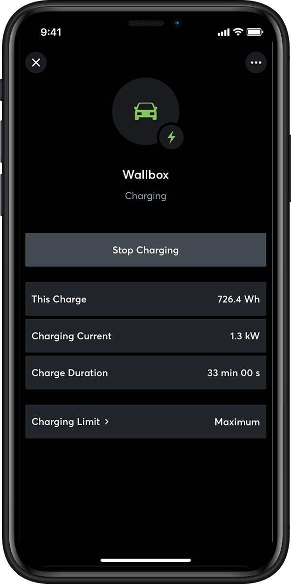 Car charging in the Loxone App