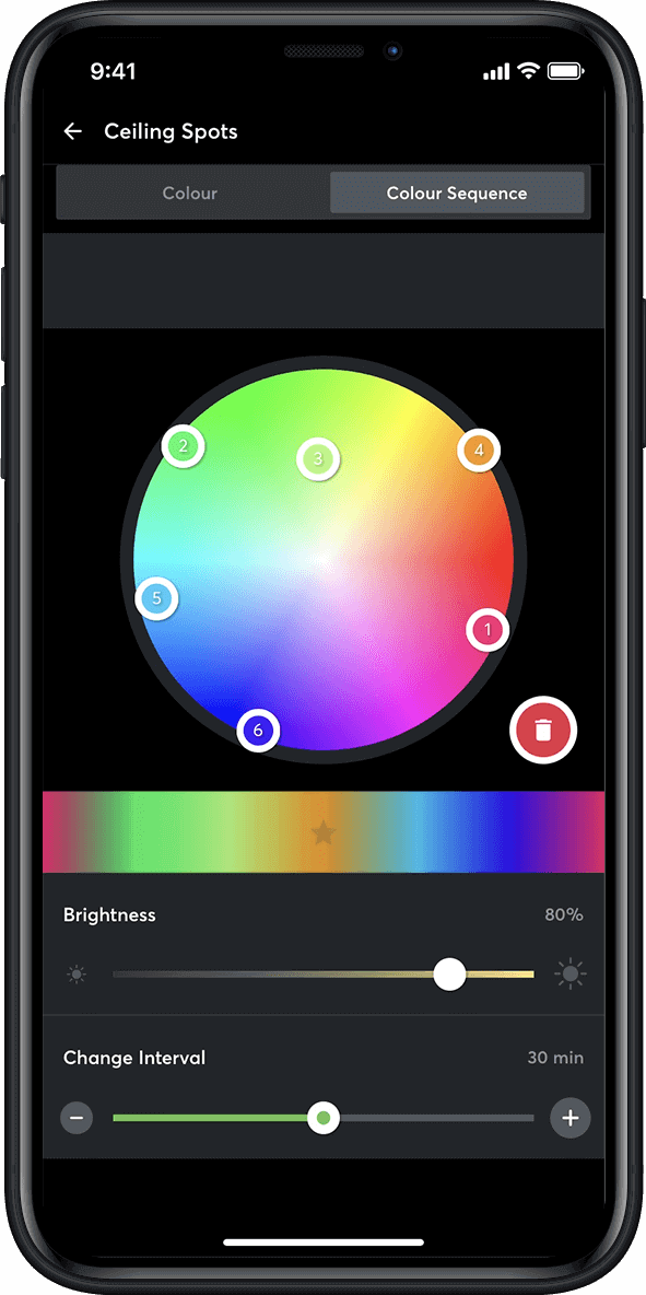 Color sequence in the Loxone App