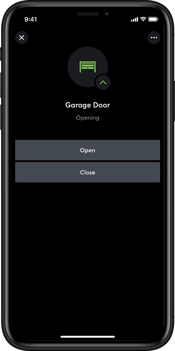 Garage door control in the smart home app