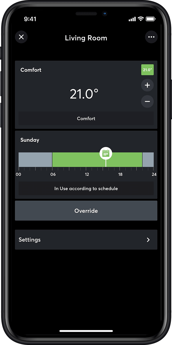 Temperature control in the Loxone App