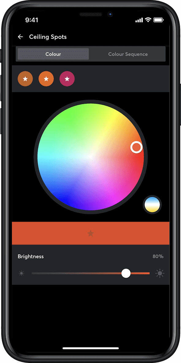 Loxone App showing color wheel for lighting control