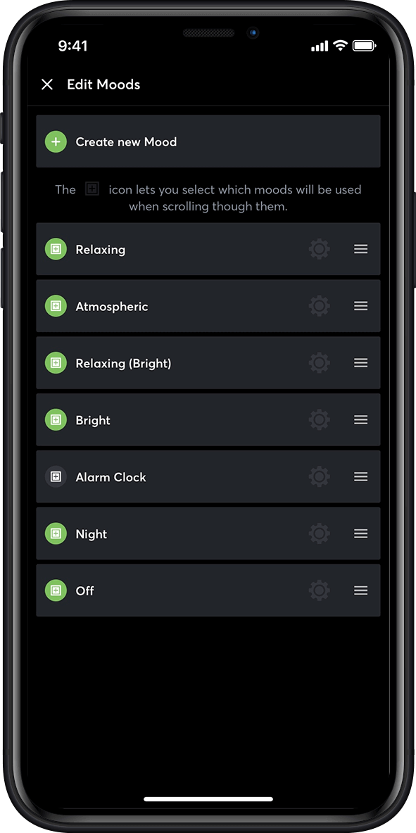 Lighting moods in the Loxone App