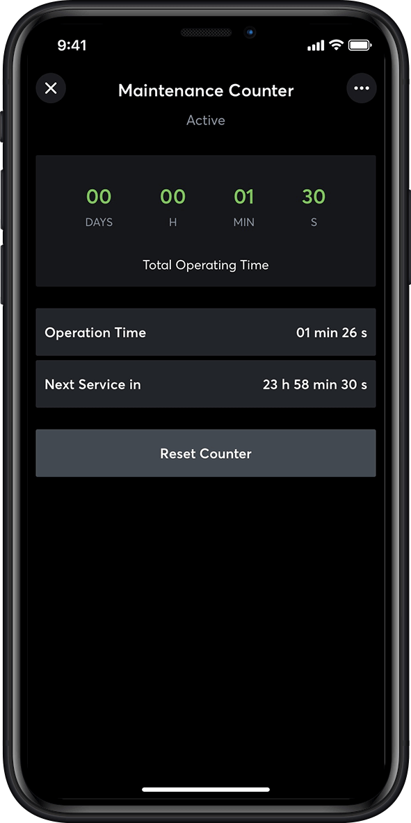 Maintenance tracker in the Loxone App