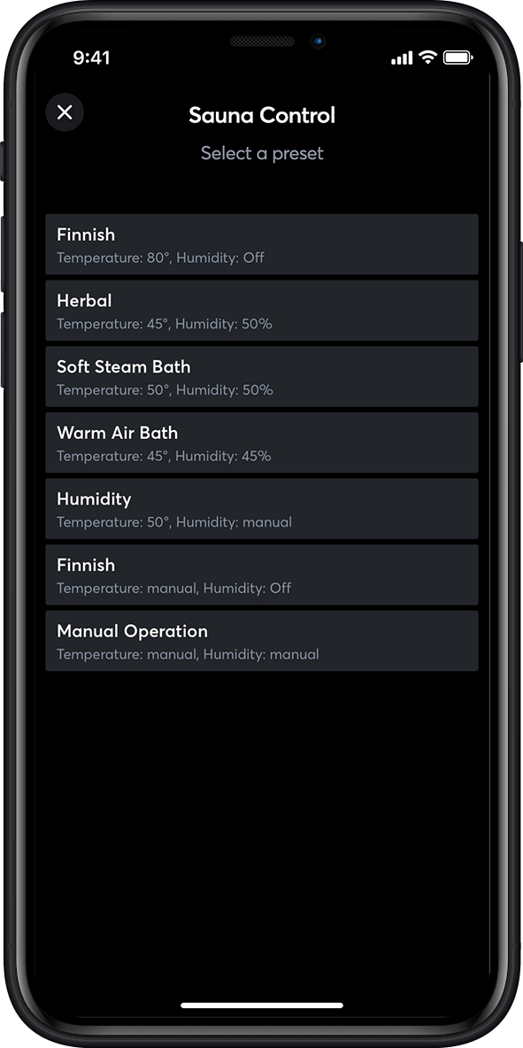 Ansicht Sauna control in the Loxone App