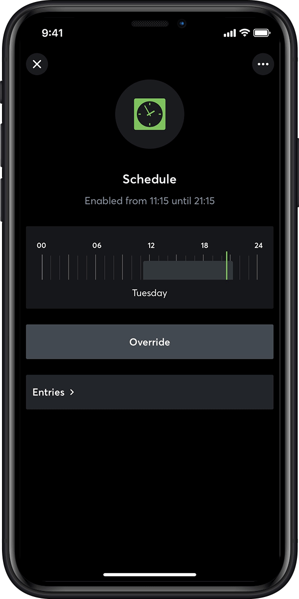 Timer function in the smart home app