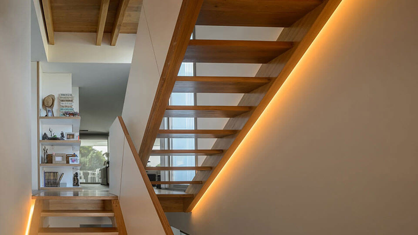 Stairway with LED Strip lighting along side.