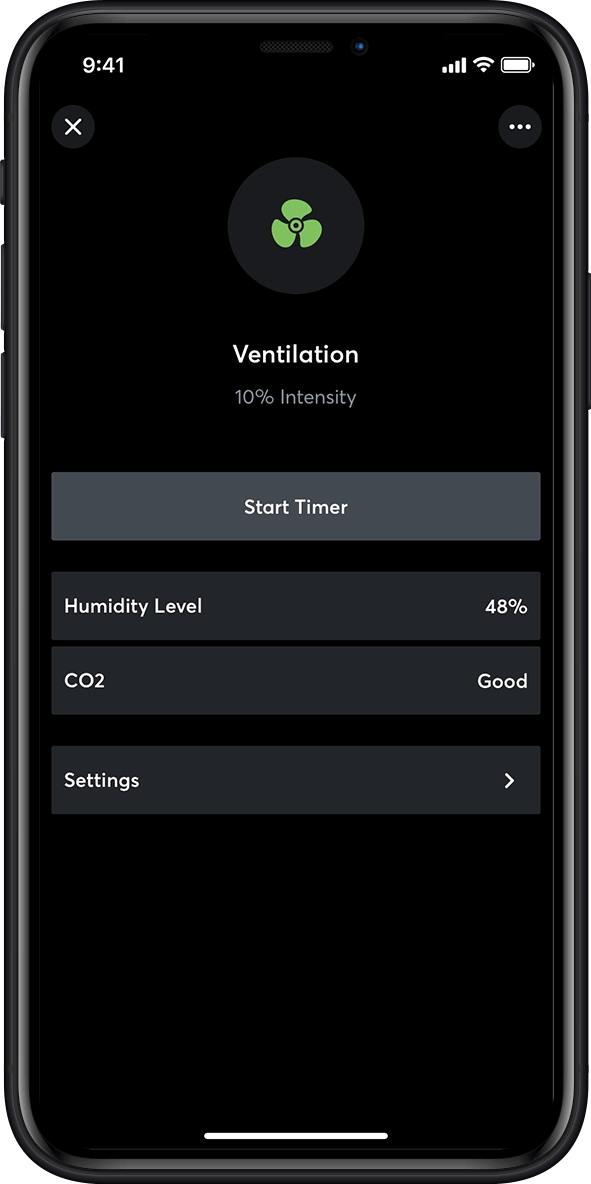 ventilation control in smart home app