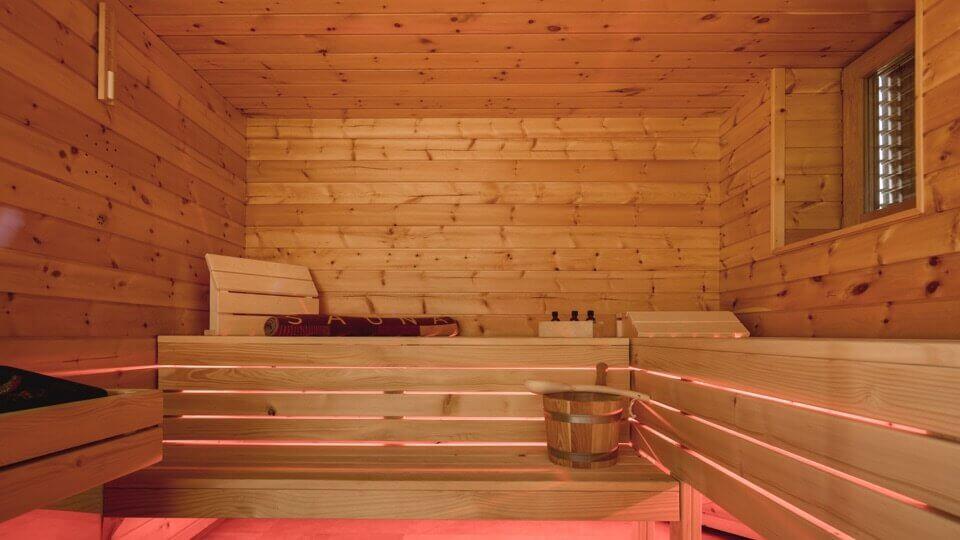 Finnish sauna room with LED lighting
