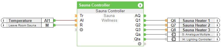 Sauna controller in Loxone Config Software