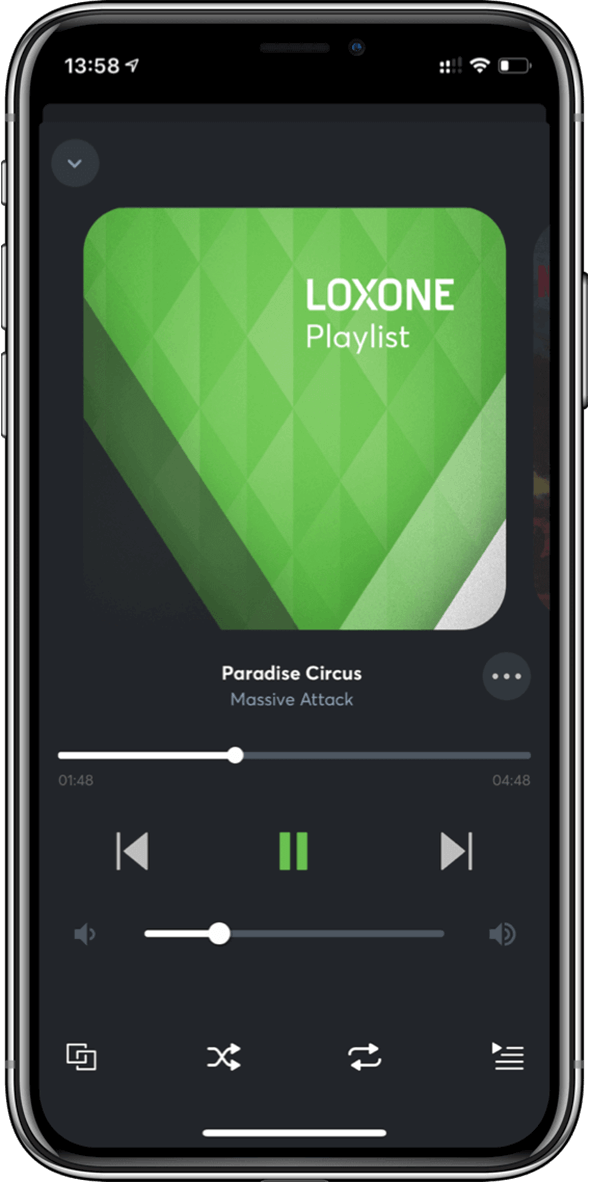 Loxone App music interface