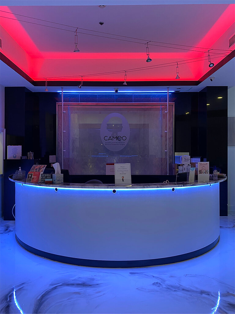 Front desk with LED Strip lighting effect