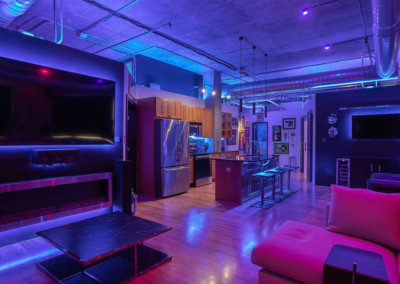 Loft with colorful led lighting mood
