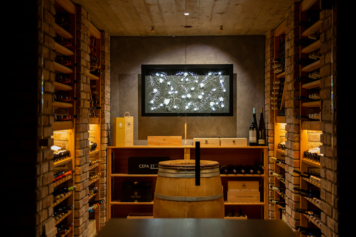 Wine cellar with ambient lighting