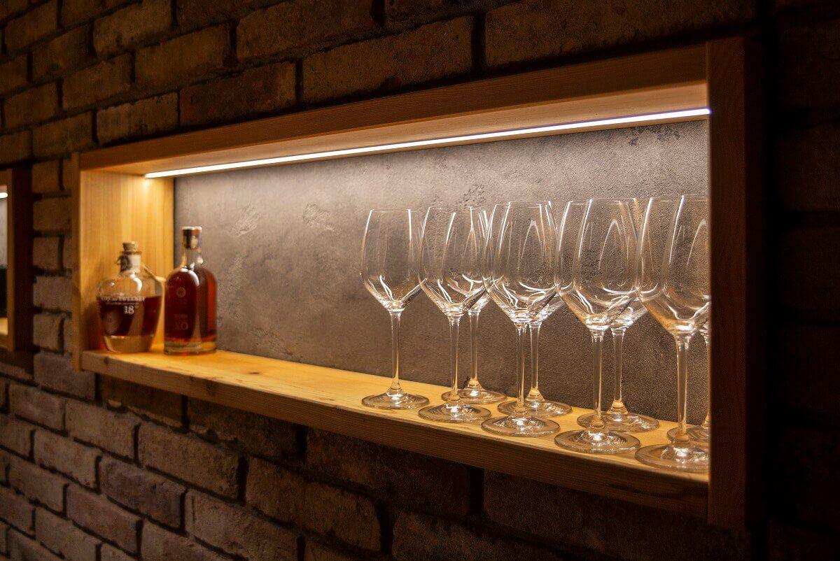 Wine glasses displayed