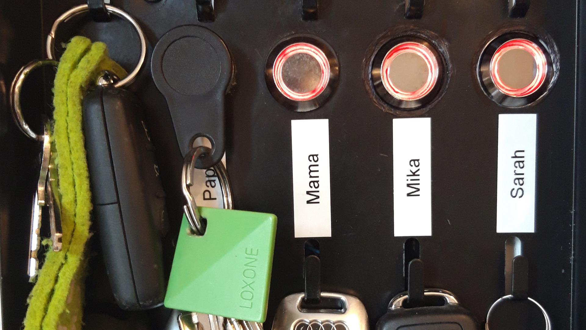 Keys hung on magnetic rack