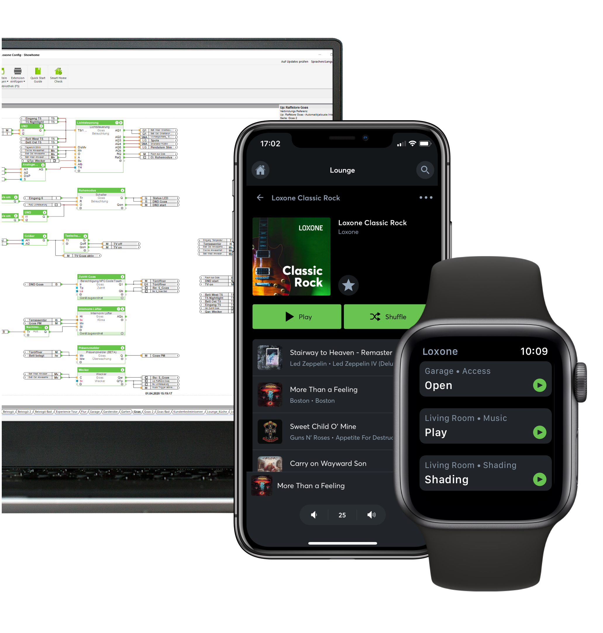Loxone App displayed on iPhone, Apple Watch and desktop