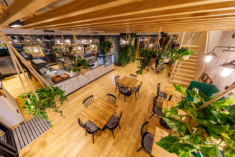 Aerial view inside coffee shop