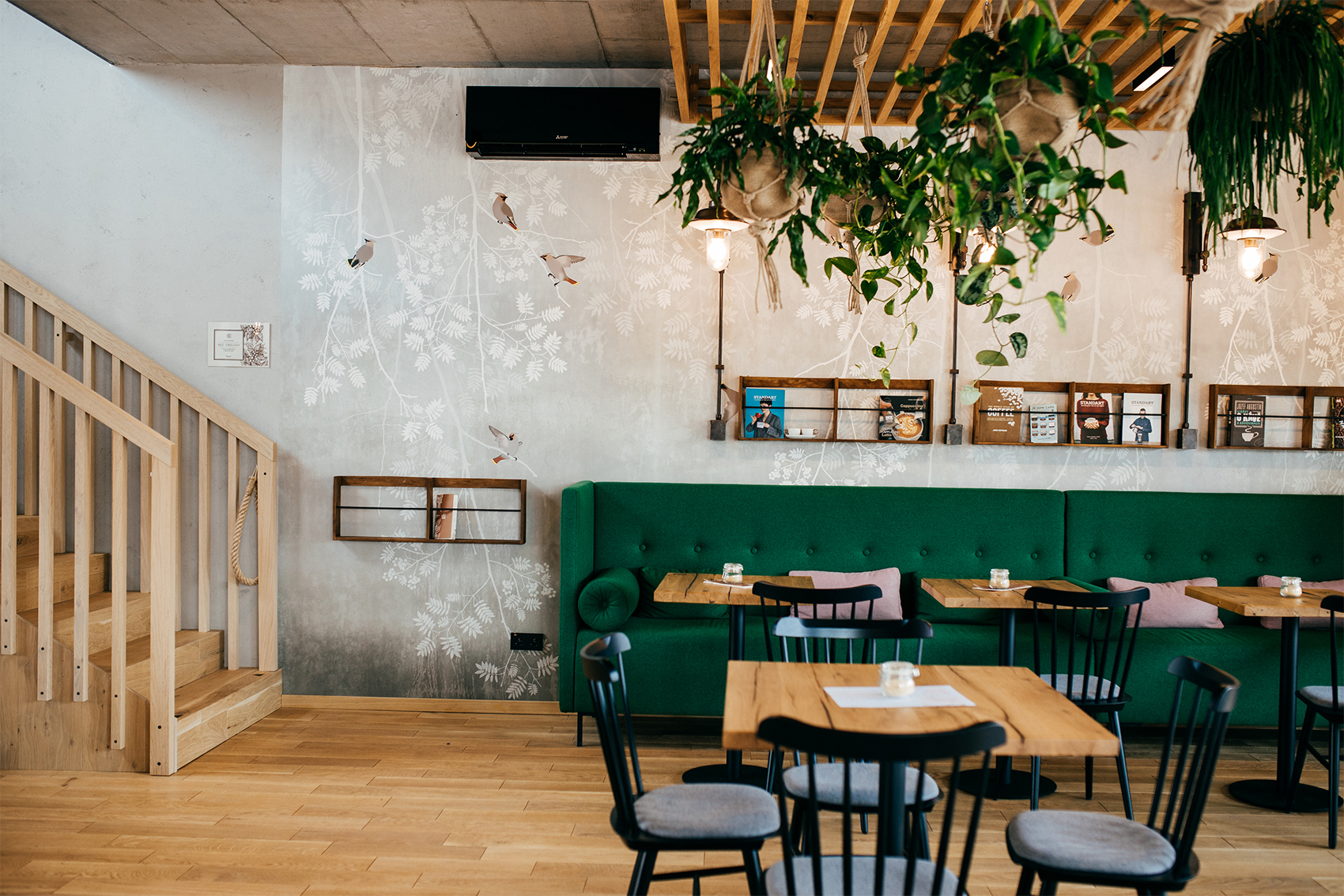 Seating area with plants hanging