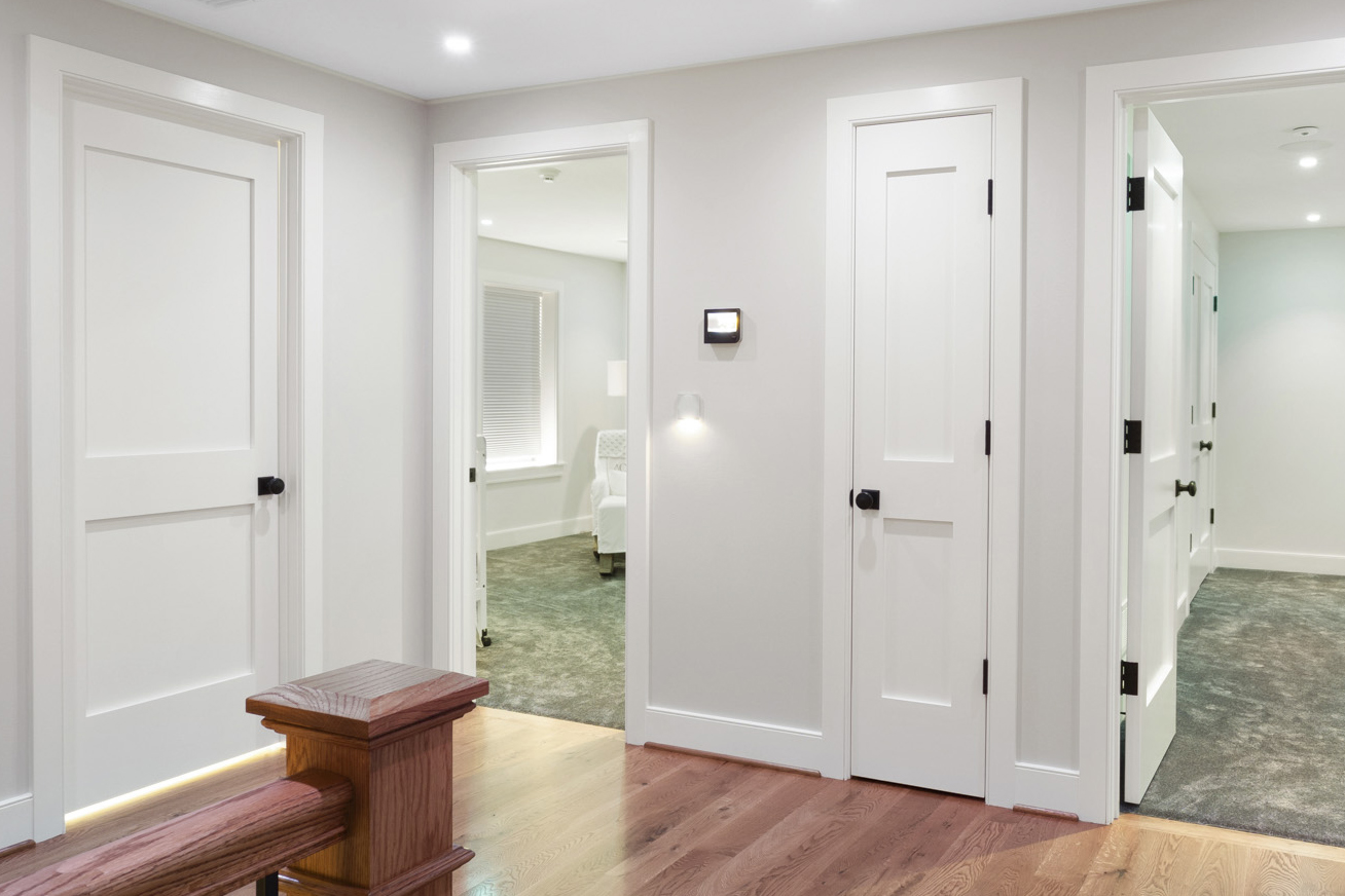 Brightly lit hallway with smart home lighting and products