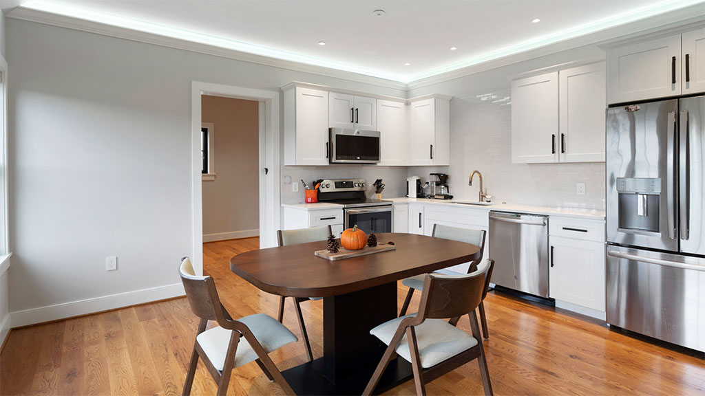Smart home kitchen with led strip lighting