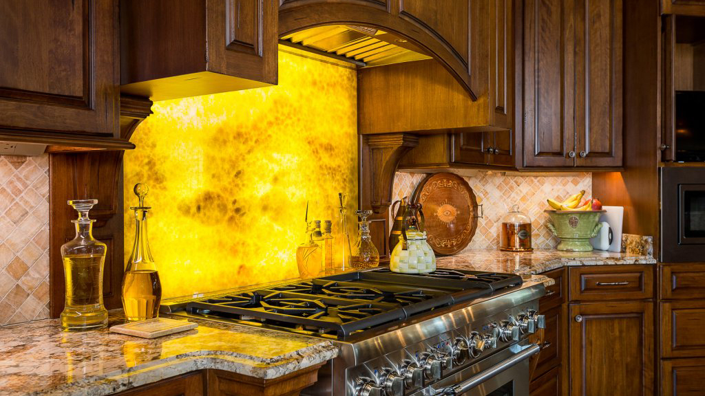 Onyx marble with glowing LED lighting