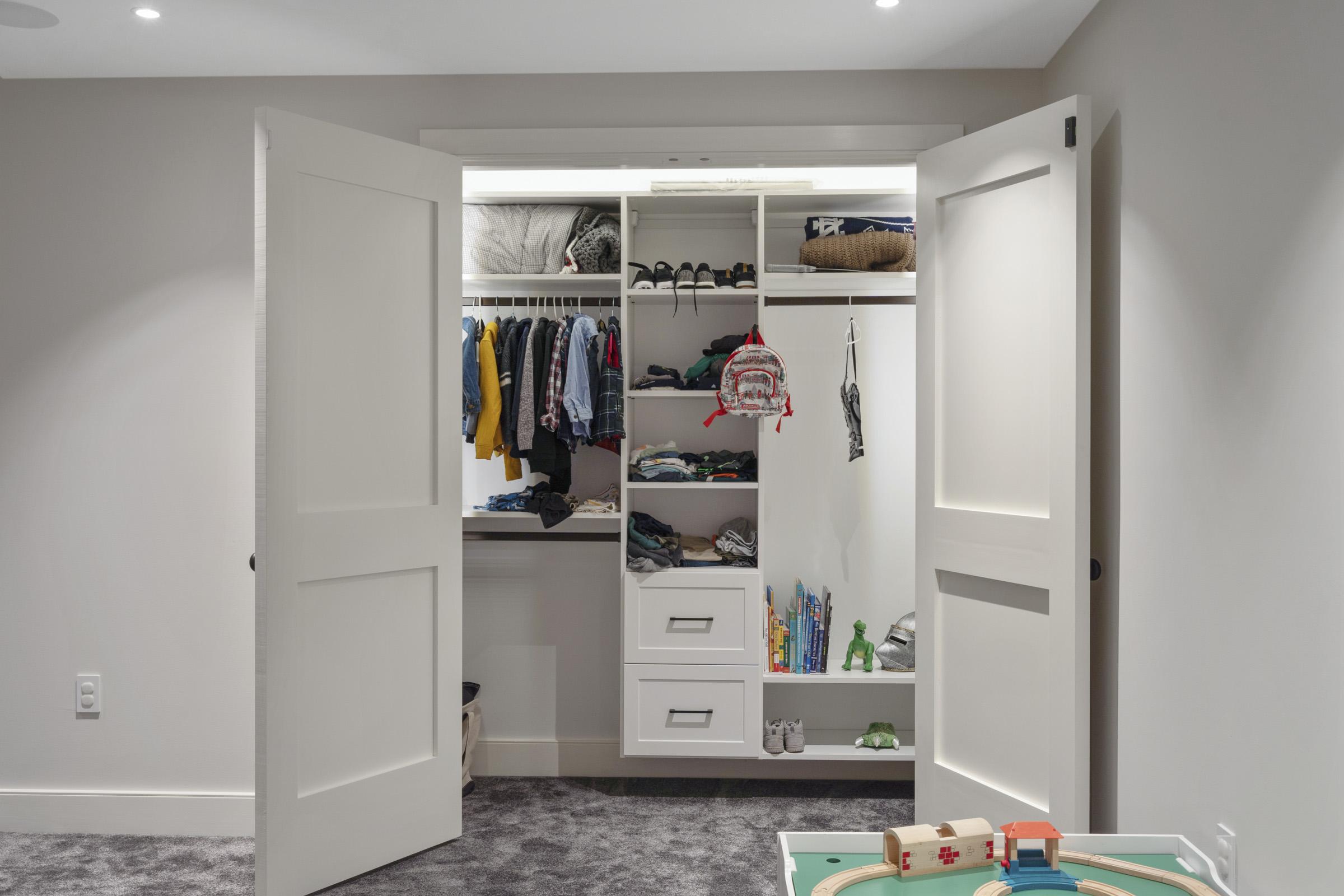 Children's closet with accent lighting