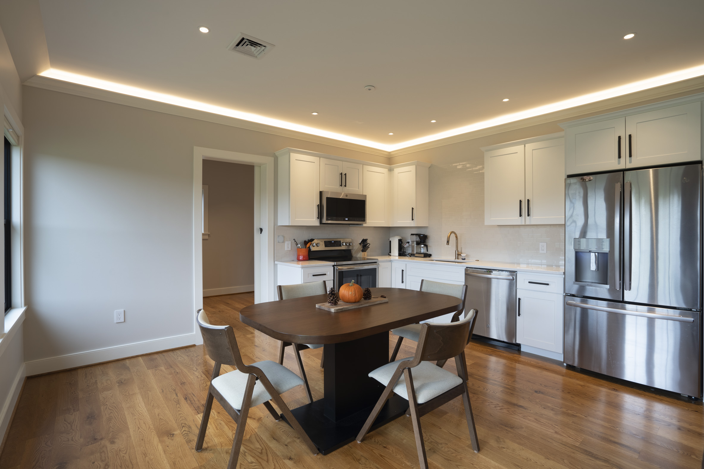 Kitchen with LED Strip lighting