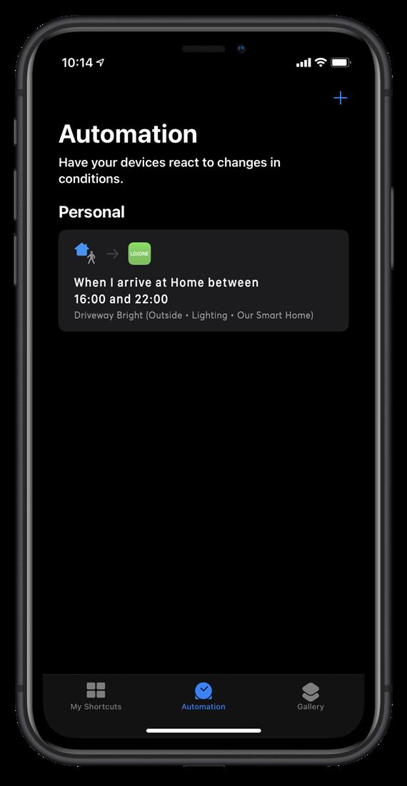 Loxone App Siri shortcut