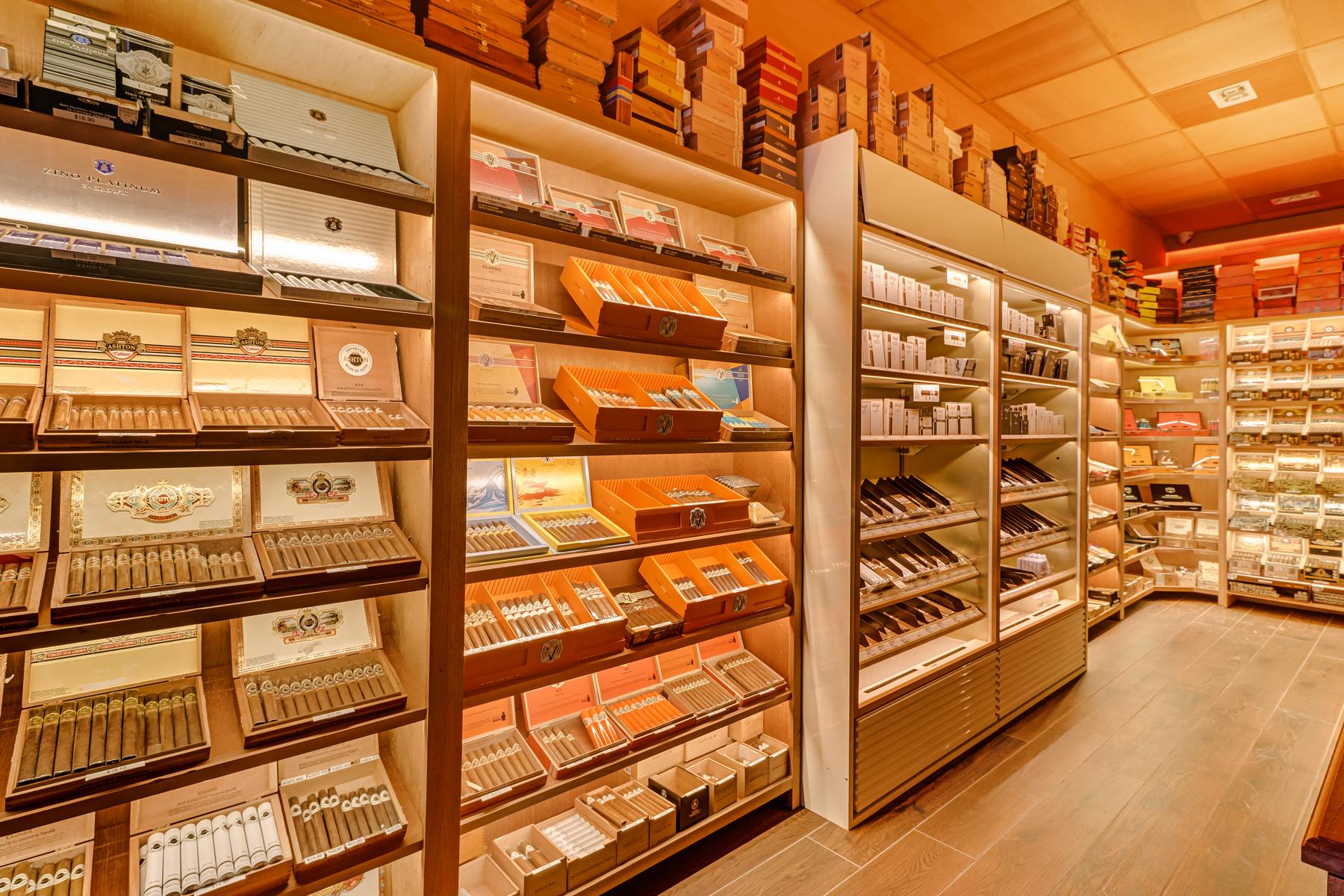 Close-up of cigar shelves