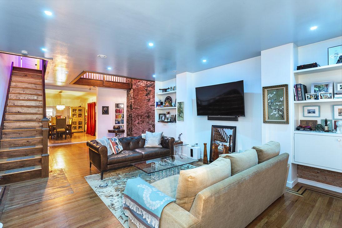 Living room with blue lighting mood
