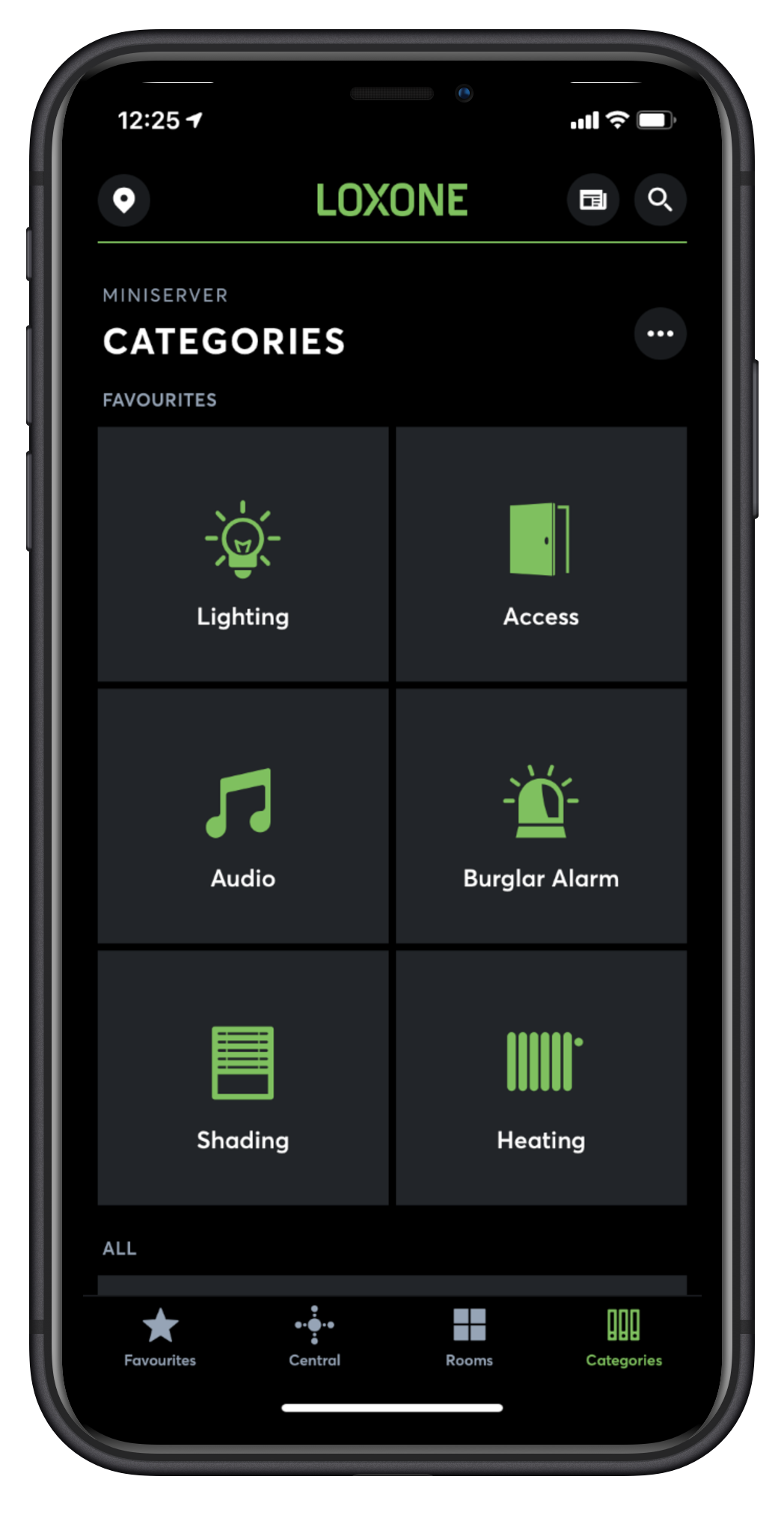 iPhone Loxone App Categories