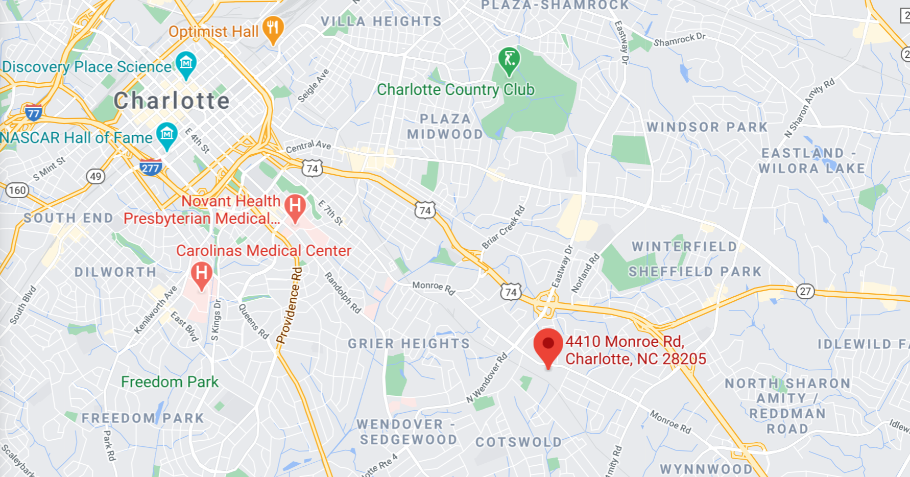 Google Map view of Clarity Showroom