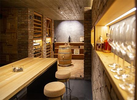Wine cellar with led lighting